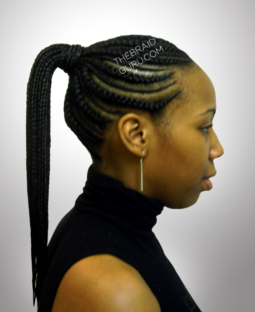 Biggie Small Feed In Cornrows   Ponytail   Side View Braids By  Thebraidguru.com