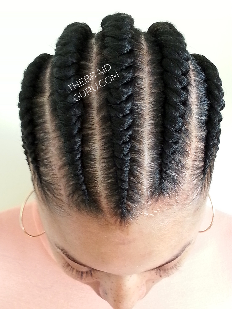 Large Feed In Cornrows   1 Layer Braids By Thebraidguru.com