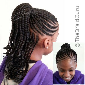 Medium Sized Feed In Cornrows Braided Into A Ponytail While The Back Is Down Ends Are Curled